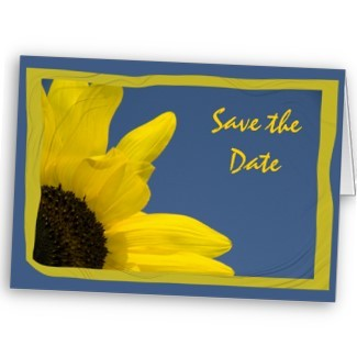 blue, Invitations, yellow, Flower, Floral, Save the date, Summer, Announcement, Sunflower, Announce, Wedding save the date, A wedding collection by lora severson photography, Summer wedding, Sunflower wedding, Floral wedding, Stationery, Announcements, Save-the-Dates, Flowers & Decor