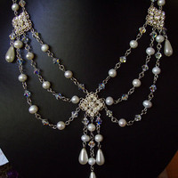 Jewelry, white, Necklaces, Bridal, Victorian, Necklace, Style, Swag, Rhinestone, Pearl, Filigree, Layered, Freshwater, Shacara jewelry
