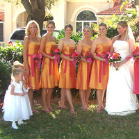 pink, orange, Bridesmaids, Fashion, Bridesmaids Dresses