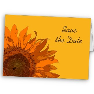 Flowers & Decor, Stationery, yellow, orange, Announcements, Invitations, Save-the-Dates, Flower, Save the date, Floral, Blossom, Announcement, Sunflower, Announce, A wedding collection by lora severson photography, Wedding save the date, Sunflower wedding, Floral wedding, Orange flower