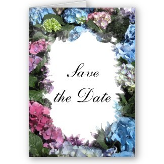 Flowers & Decor, Stationery, white, pink, blue, Announcements, Invitations, Save-the-Dates, Flower, Save the date, Floral, Colorful, Blossom, Hydrangea, Announcement, Announce, A wedding collection by lora severson photography, Wedding save the date, Floral wedding, Hydrangea wedding, Multi colored
