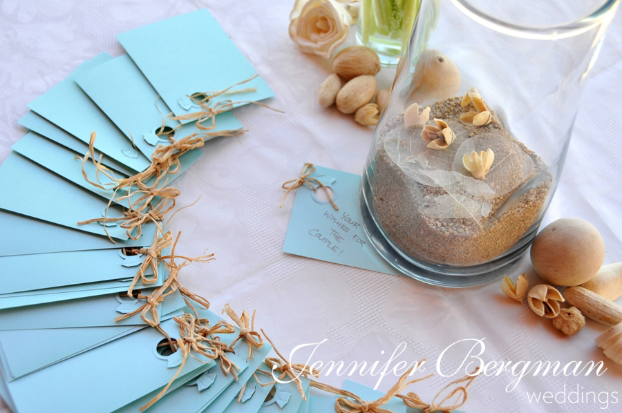 Reception, Flowers & Decor, Destinations, blue, Mexico, Beach, Beach Wedding Flowers & Decor, Wedding, Destination, Guest book, Los, Cabos, Jennifer bergman weddings, Wish jar