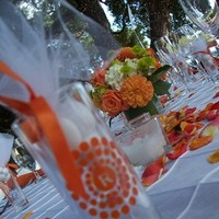 Reception, Flowers & Decor, Decor, Favors & Gifts, white, orange, green, Favors, Flowers, Table, Place, Top, Decorations, Settings, Premier productions
