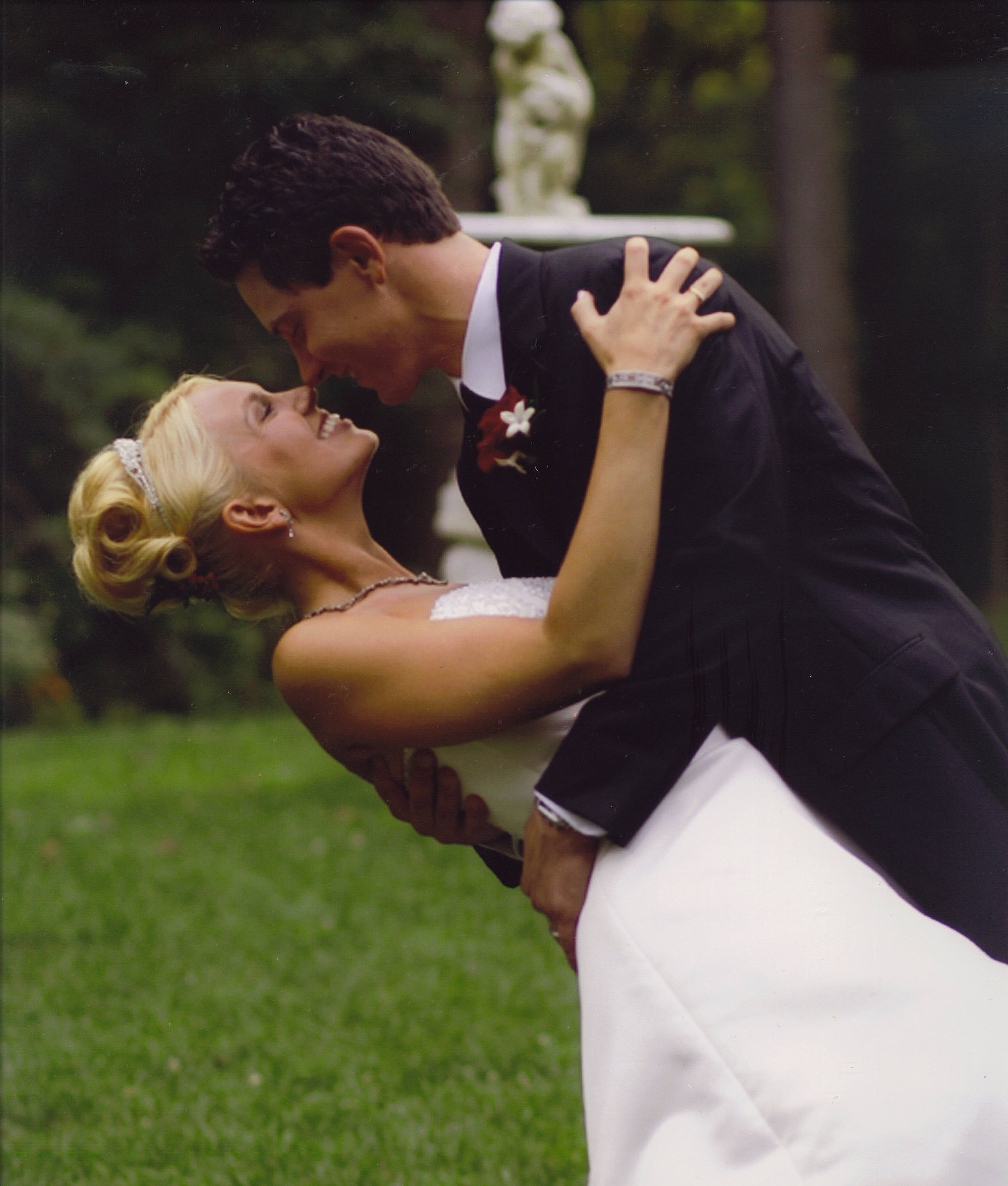 Flowers & Decor, Wedding Dresses, Fashion, dress, Garden, Bride, Groom, Fountain, Gramercy mansion