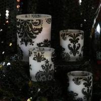 Reception, Flowers & Decor, black, Centerpieces, Centerpiece, Damask, Votives, Flocked