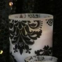 Reception, Flowers & Decor, black, Centerpieces, Centerpiece, Votive, Damask, Flocked