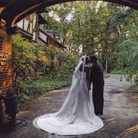 dress, Bride, Groom, Garden, Entrance, Front, Gramercy mansion, Pathway, Port, Coche, Fashion, Wedding Dresses, Flowers & Decor