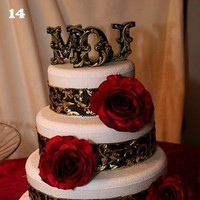 Cakes, black, cake, Monogrammed Wedding Cakes, Monogram, Damask