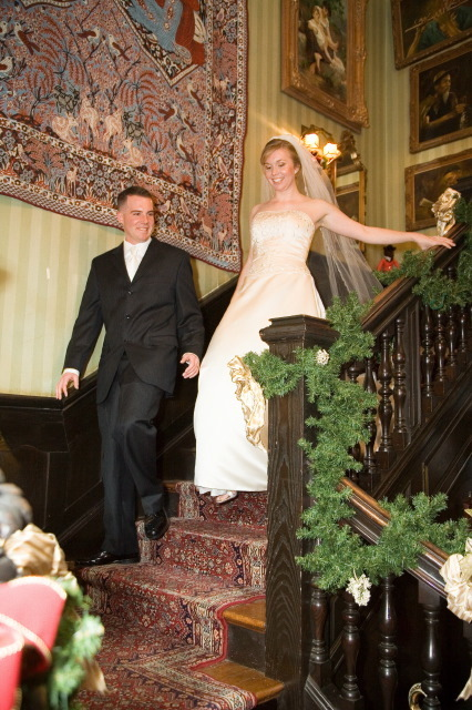 Reception, Flowers & Decor, Wedding Dresses, Fashion, dress, Bride Bouquets, Bride, Flowers, Groom, Staircase, Gramercy mansion, Flower Wedding Dresses
