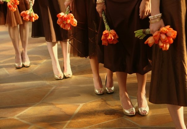 Ceremony, Reception, Flowers & Decor, Bridesmaids, Bridesmaids Dresses, Fashion, orange, black, Ceremony Flowers, Bridesmaid Bouquets, Flowers, Tulips, Flowerbudcom, Flower Wedding Dresses