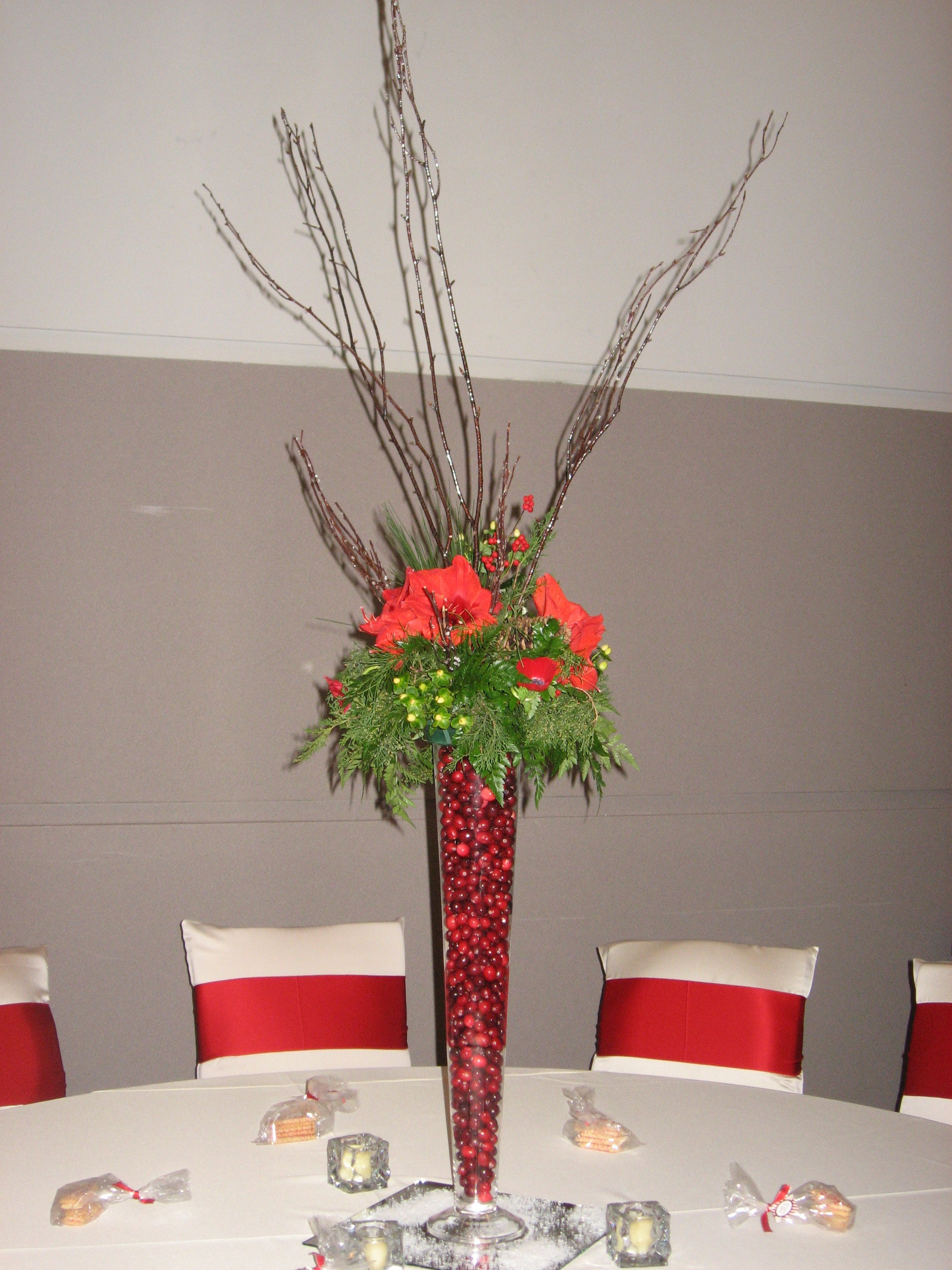 Reception, Flowers & Decor, white, red, green, silver, Centerpieces, Flowers, Centerpiece, Amaryllis, Flowerbudcom