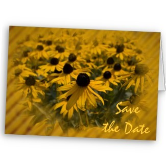 Flowers & Decor, Stationery, yellow, Announcements, Invitations, Save-the-Dates, Flower, Save the date, Floral, Announcement, Announce, A wedding collection by lora severson photography, Wedding save the date, Floral wedding, Yellow wedding, Yellow floral, Black eyed susan