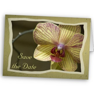 Flowers & Decor, Stationery, yellow, Announcements, Invitations, Save-the-Dates, Flower, Orchid, Save the date, Floral, Announcement, Announce, A wedding collection by lora severson photography, Wedding save the date, Floral wedding, Yellow wedding, Yellow orchid, Orchid wedding