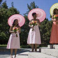 Bridesmaids, Bridesmaids Dresses, Fashion, orange, pink, Umbrellas, Kelly freedman photography