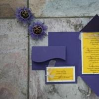 Stationery, Paper, yellow, purple, Invitations, Rsvp, Handmade, Sleepy hedgehog press, Self-mailer