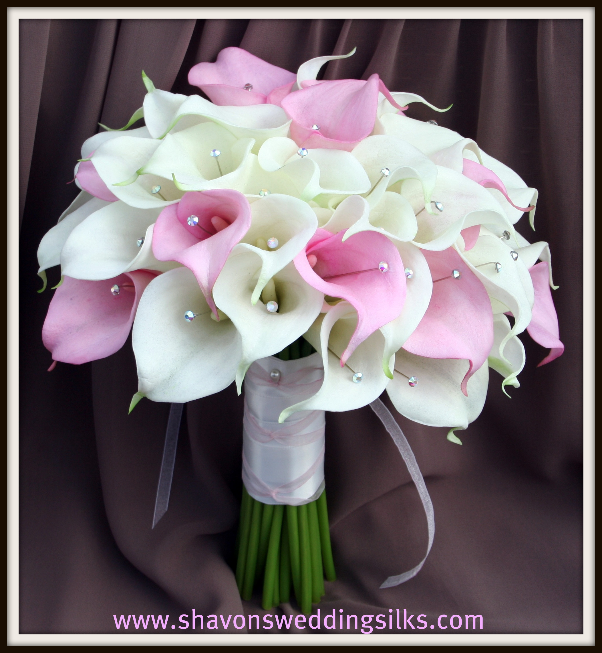 Ceremony, Inspiration, Flowers & Decor, Bridesmaids, Bridesmaids Dresses, Fashion, white, pink, silver, Ceremony Flowers, Bridesmaid Bouquets, Flowers, Wedding, Calla, Lilies, Board, Bling, Crystals, Touch, Shavons wedding silks, Real, Floramatique, Flower Wedding Dresses
