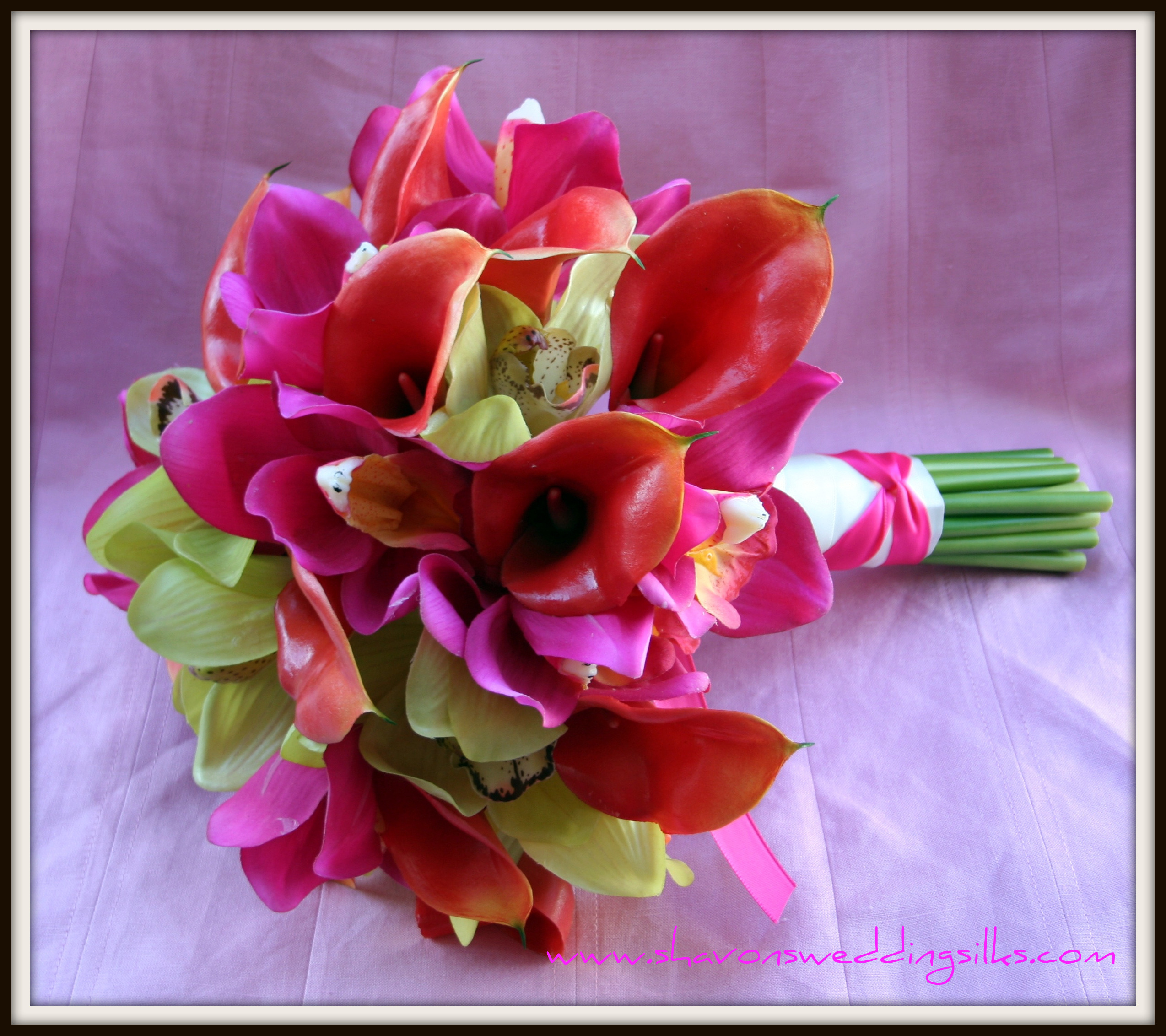 Ceremony, Inspiration, Flowers & Decor, Bridesmaids, Bridesmaids Dresses, Fashion, orange, pink, green, Ceremony Flowers, Bridesmaid Bouquets, Flowers, Wedding, Tropical, Calla, Lilies, Orchids, Bright, Board, Cymbidium, Fresh, Fuchsia, Touch, Shavons wedding silks, Real, Flower Wedding Dresses