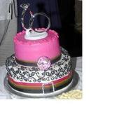 Cakes, white, pink, green, black, cake, Engagement Party