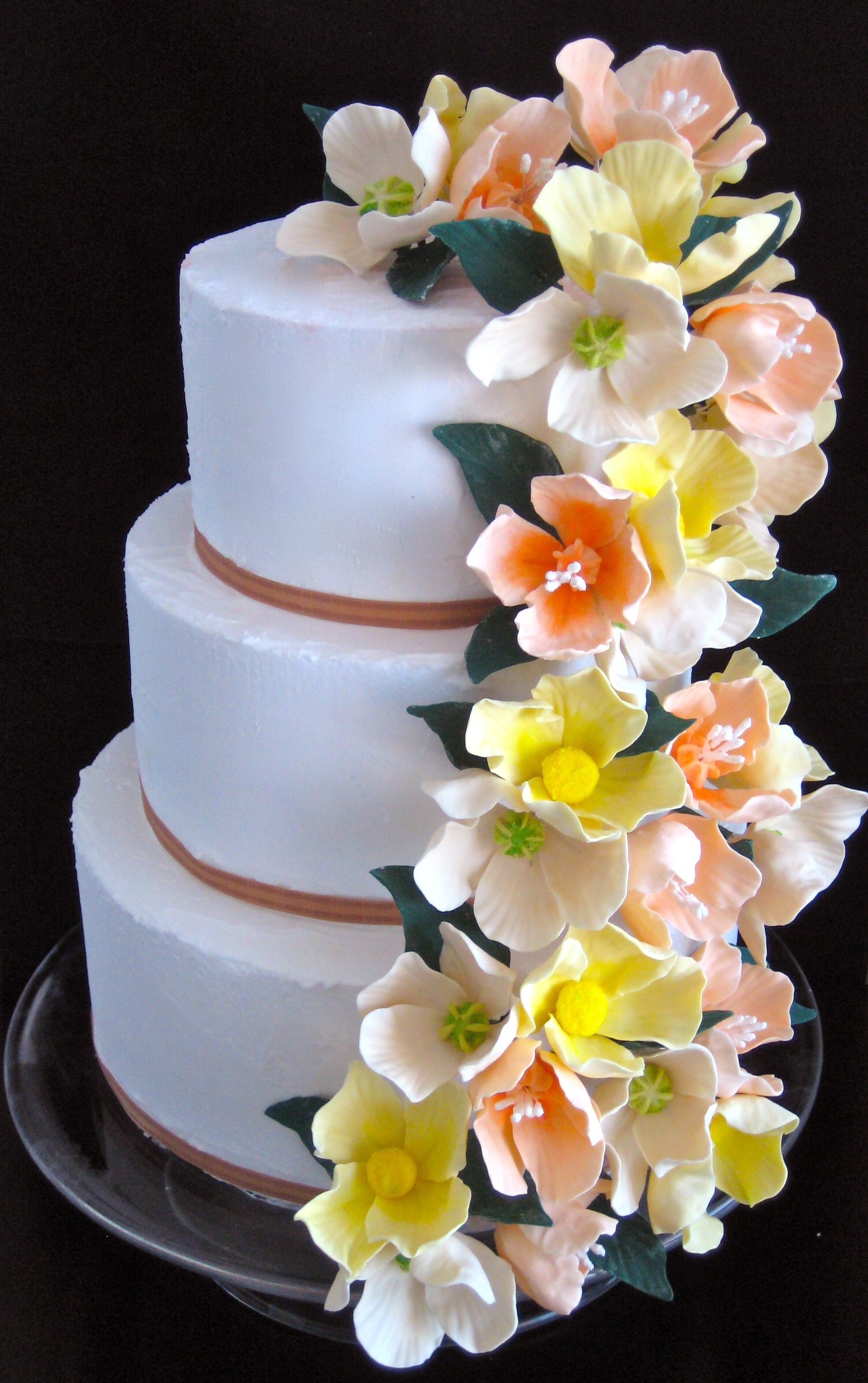 Cakes, white, yellow, orange, cake, Wedding, Sugar flower shop, Sugar flowers
