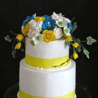 Cakes, white, yellow, blue, green, cake, Wedding cake, Sugar flower shop, Sugar flowers