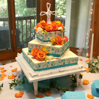 Reception, Flowers & Decor, Cakes, white, orange, blue, cake