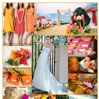Inspiration, Destinations, yellow, orange, pink, Destination Weddings, Board, Destination wedding, Beach wedding, Pineapple, Tropical wedding, Birds of paradise, Palm leaf fan favor, Demetrios destination romance, Coconut cake