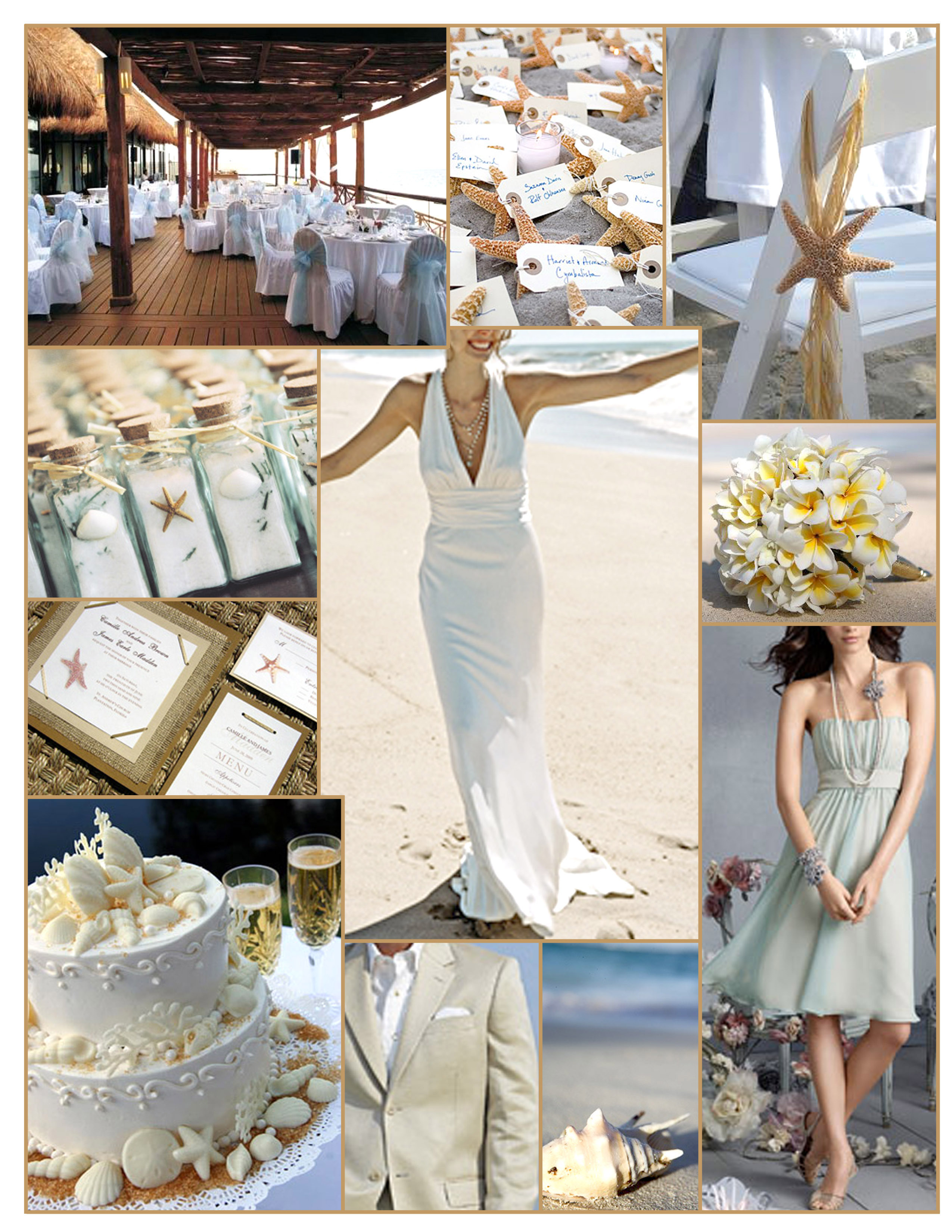 white, yellow, blue, Starfish, Plumeria, Seashells, Sand, Inspiration board, Nicole miller, Beach wedding, Frangipani, Jim hjelm occasions, Seashell cake