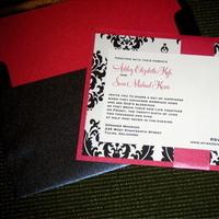 Stationery, pink, black, Invitations, Damask, Jujubee designs