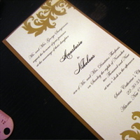 Stationery, gold, Invitations, Damask, Embossed, Jujubee designs