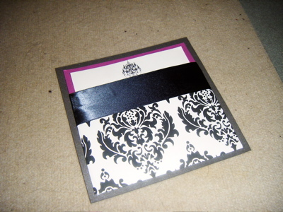 Stationery, pink, purple, black, Invitations, Ribbon, Damask, Jujubee designs