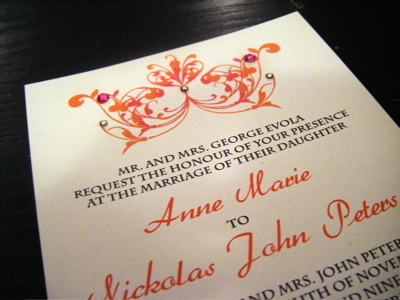 Stationery, orange, pink, Invitations, Crystal, Swarovski, Jujubee designs