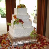 Reception, Flowers & Decor, Cakes, white, yellow, orange, red, green, cake, Flowers, Middle ranch