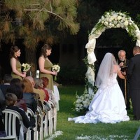 Ceremony, Flowers & Decor, Bridesmaids, Bridesmaids Dresses, Fashion, white, green, black, Wedding, Arch, Middle ranch, Outdoors