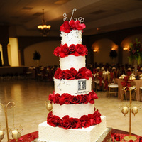 Reception, Flowers & Decor, Cakes, red, gold, cake, Flowers, Bridal trends weddings