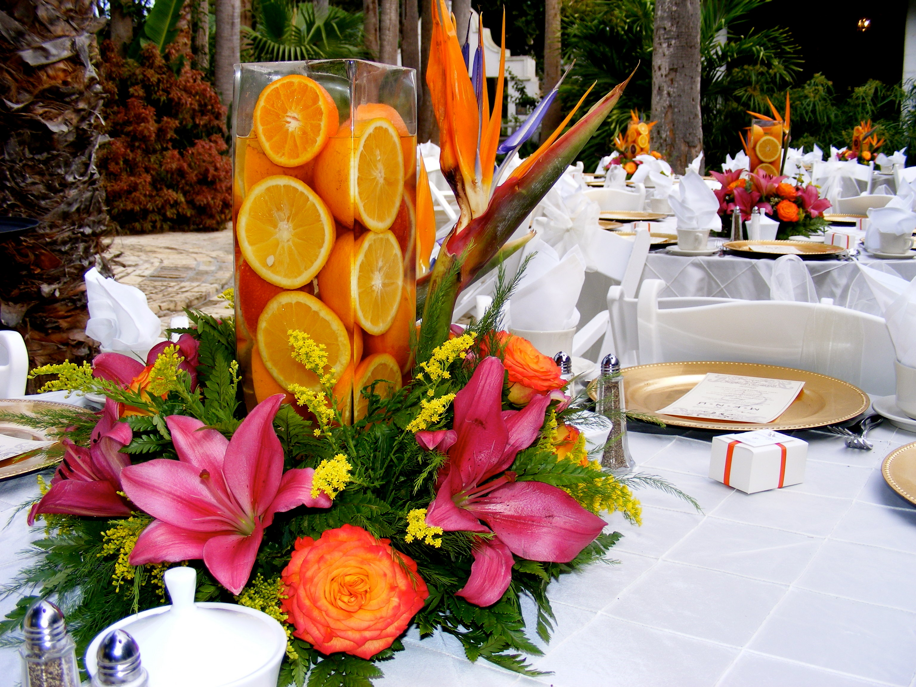 Reception, Flowers & Decor, orange, pink, Flowers, Bridal trends weddings