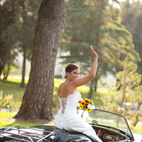 Ceremony, Flowers & Decor, Wedding Dresses, Fashion, white, green, gold, dress, Bride, Car, Antique, Temecula, Allison reed photography