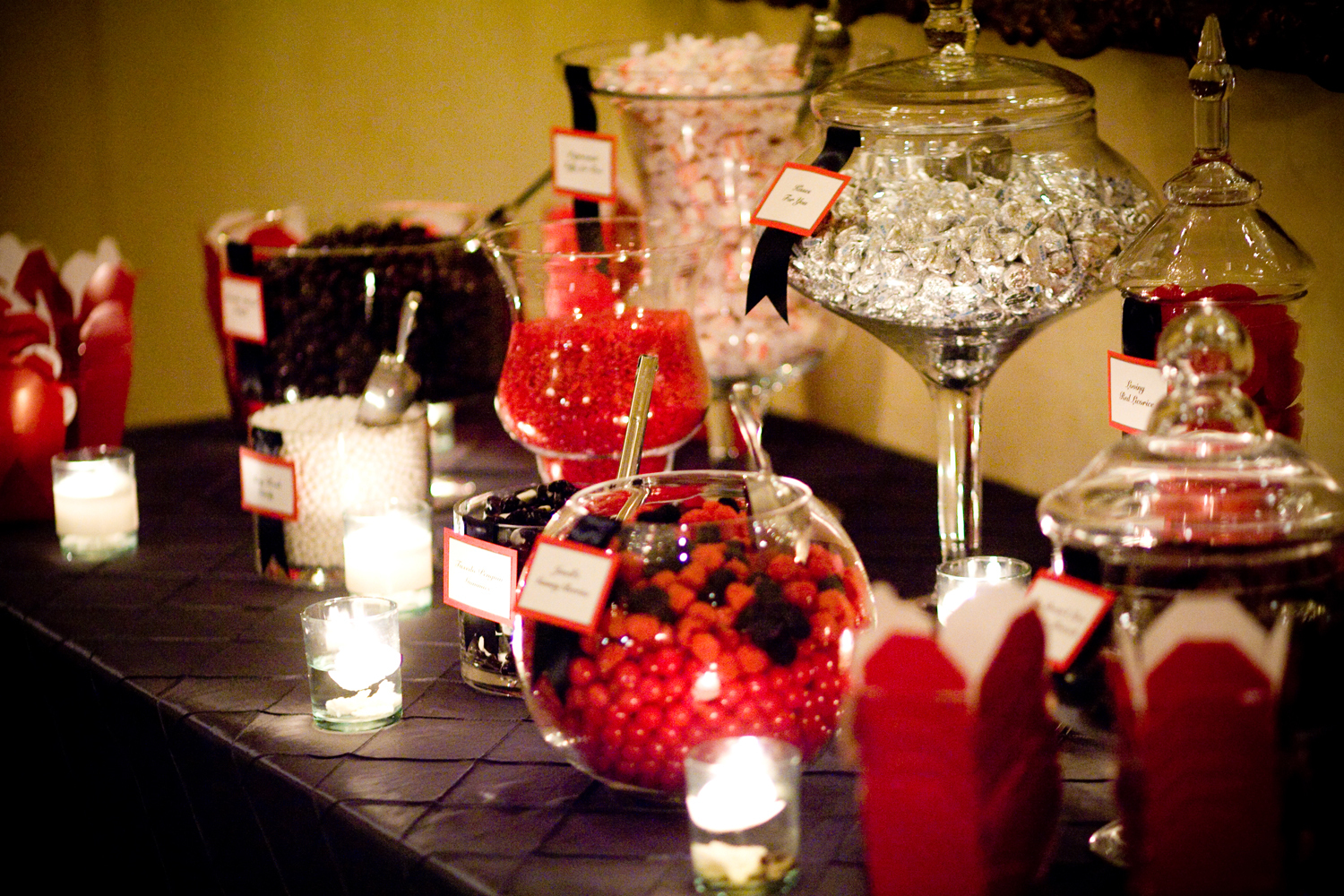 Reception, Flowers & Decor, Favors & Gifts, Stationery, red, black, Favors, Invitations, Candy, Bar, Lucky penny designs
