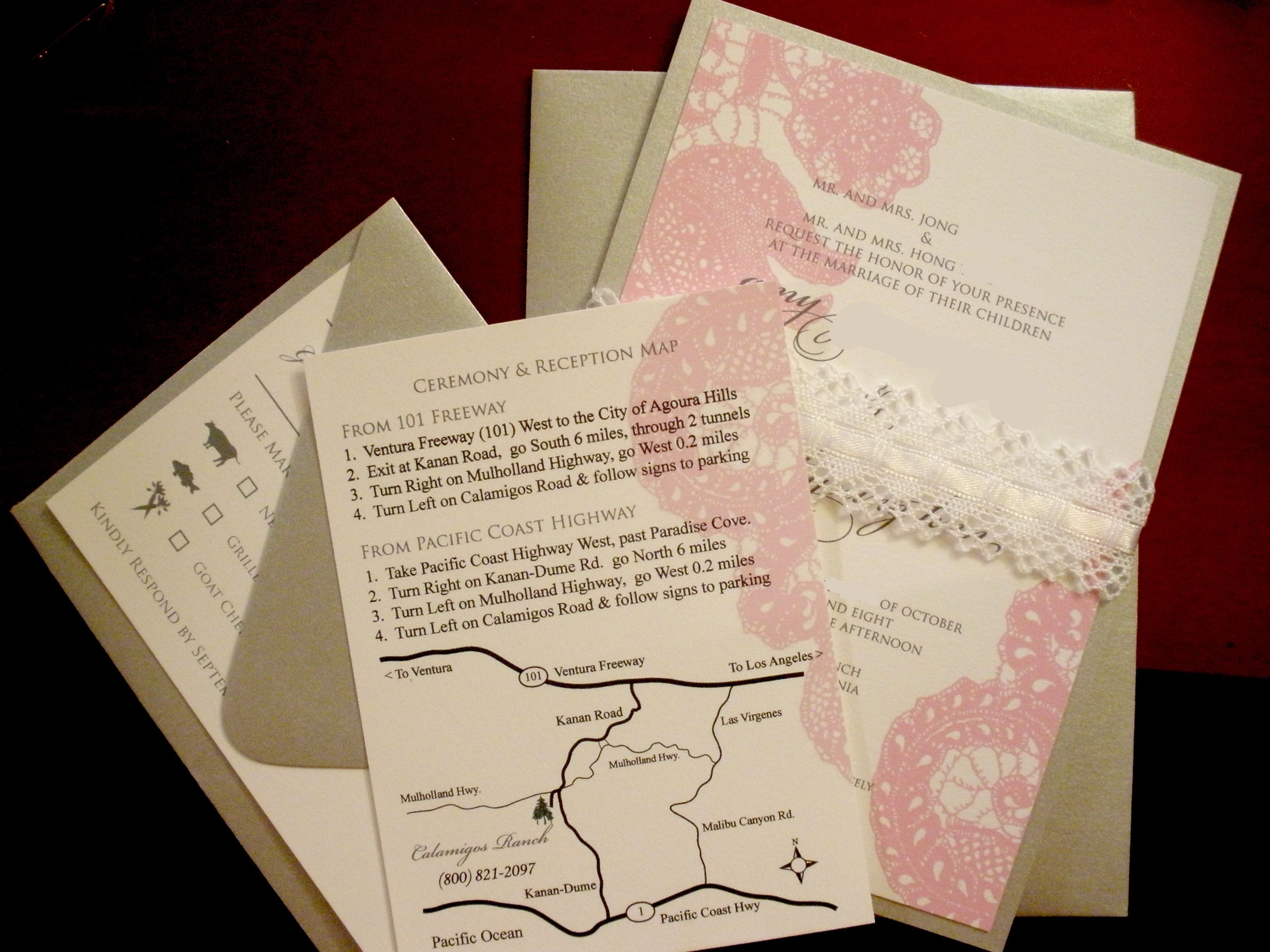 Stationery, white, pink, silver, Invitations, Lace, Olive hue