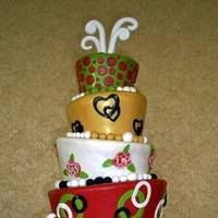 Cakes, white, red, green, gold, cake, Mirabella confections
