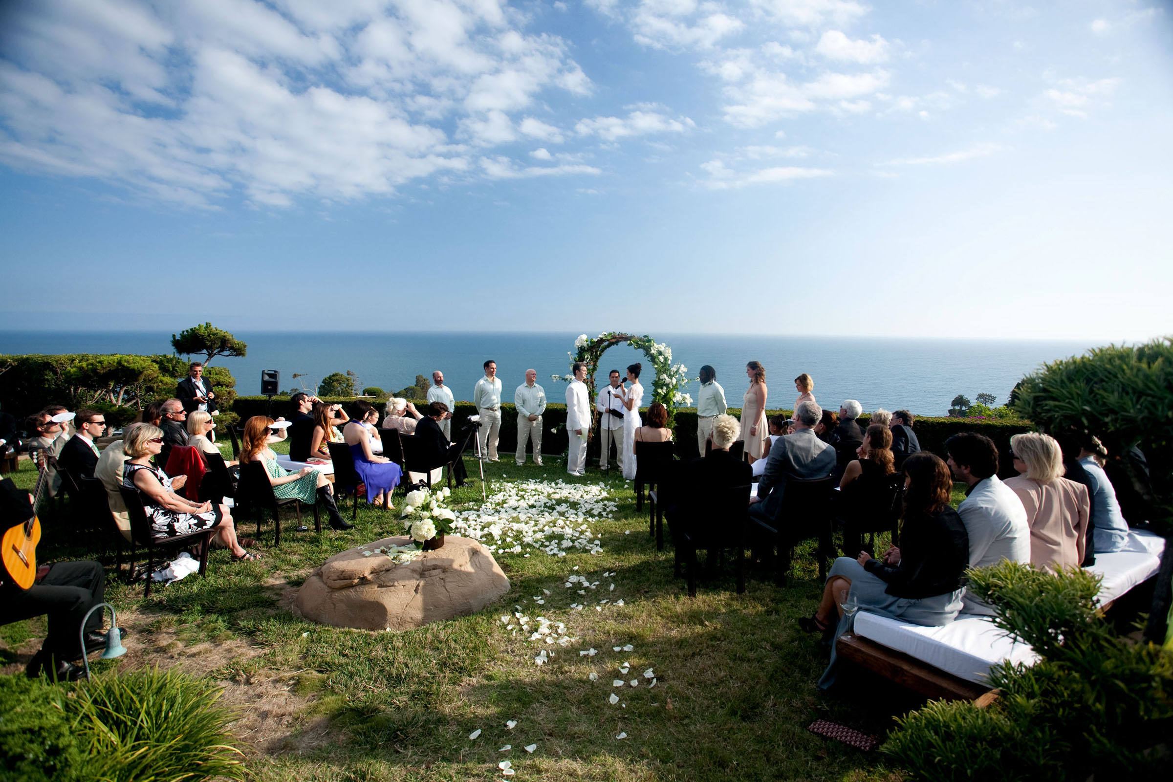 Ceremony, Flowers & Decor, white, green, Outdoor, Malibu, Tealight weddings events, Intimate