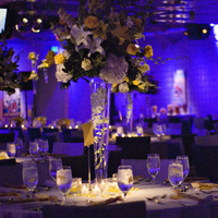 Reception, Flowers & Decor, yellow, blue, Centerpieces, Flowers, Centerpiece, 7, Degrees, Kimphil photography