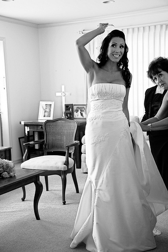 Beauty, Ceremony, Flowers & Decor, Wedding Dresses, Fashion, white, black, dress, Makeup, Bride, Hair, Getting, Ready, Kimphil photography