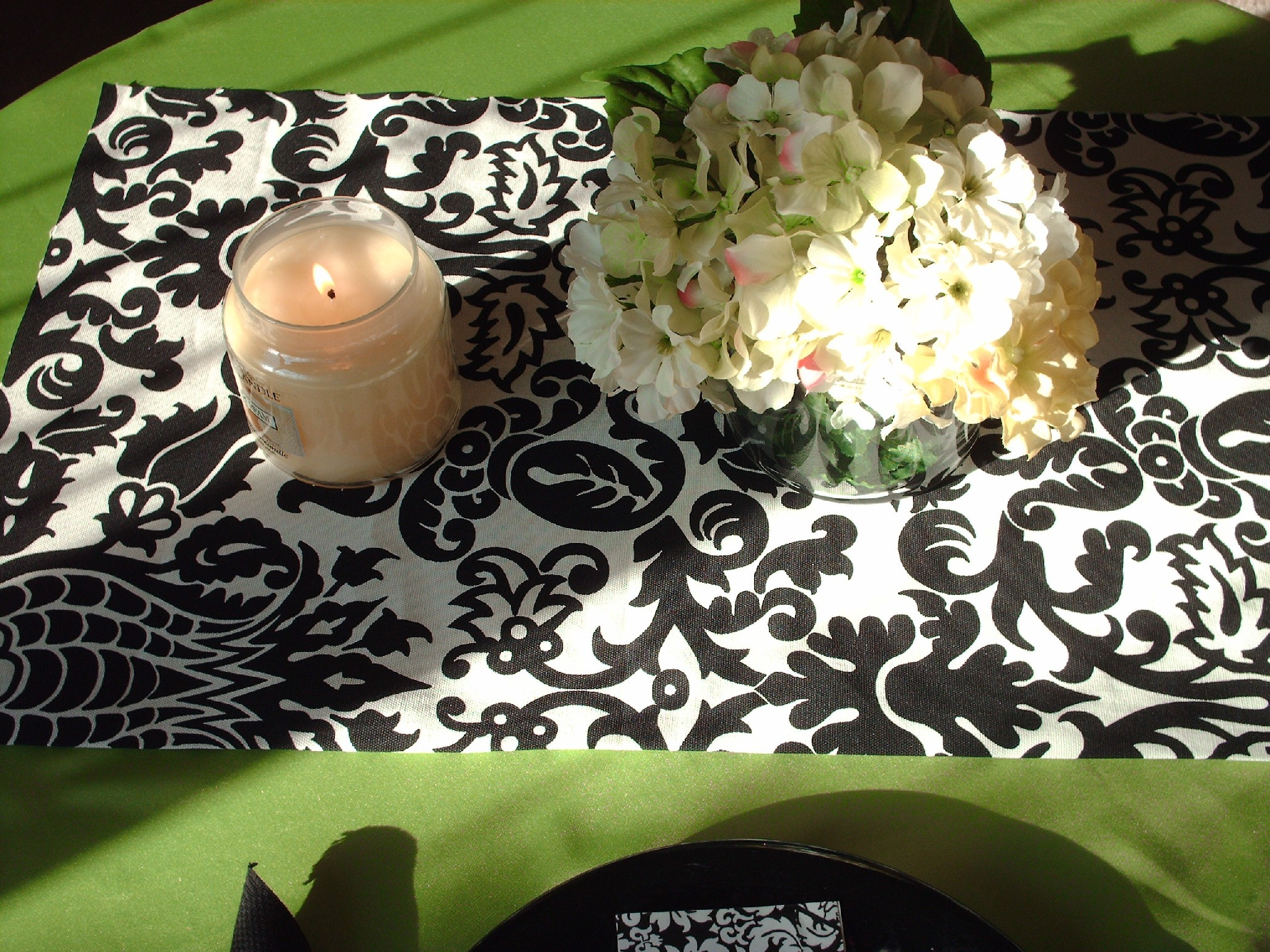 Reception, Flowers & Decor, Decor, white, green, black, Table, And, Runner, Apple, Damask, Fantasy vintage bridal