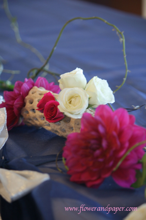 white, pink, Flower and paper, Head table arrangement