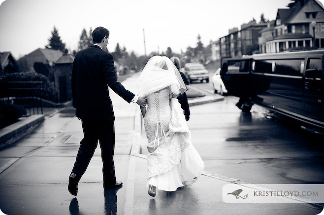 Reception, Flowers & Decor, white, black, Bride, Groom, And, Limo, Rain, Kristi lloyd photography
