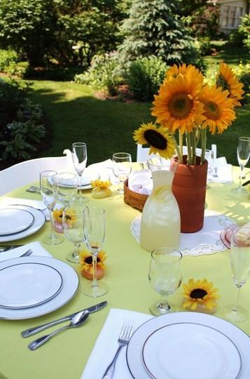 Reception, Flowers & Decor, yellow, Table, Sunflowers, Lemonade