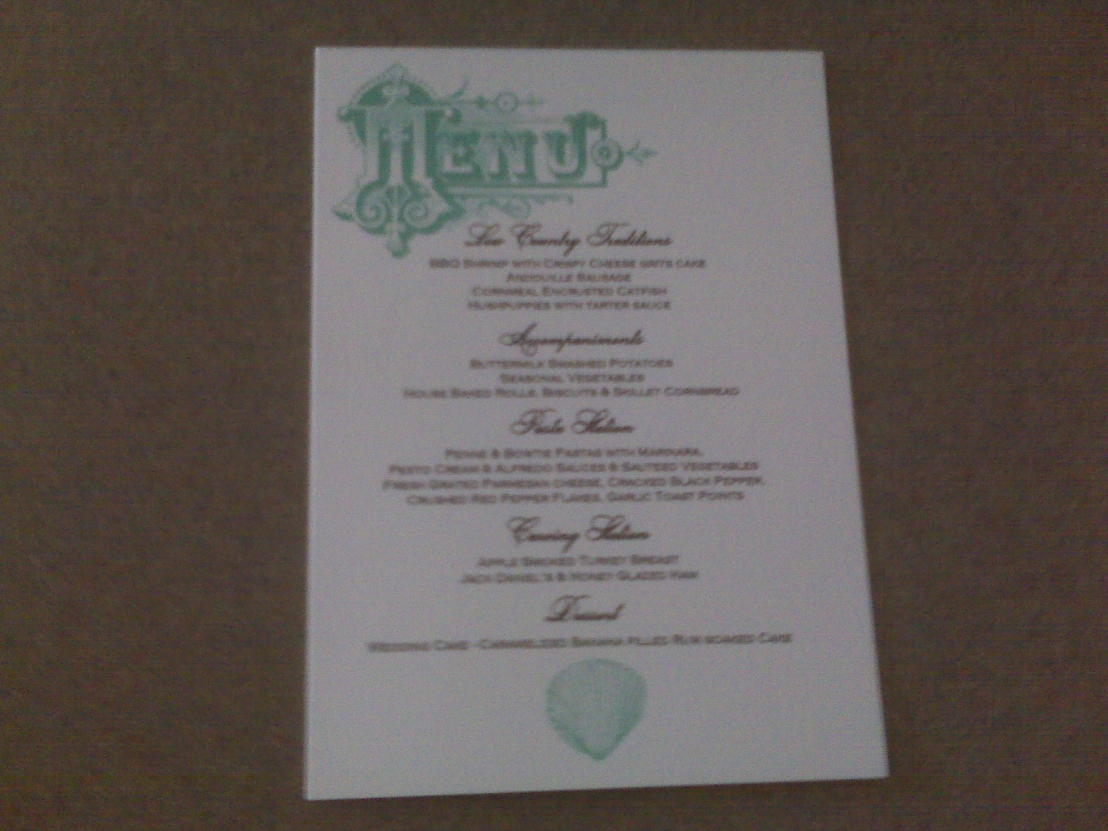 Reception, Flowers & Decor, blue, Menu