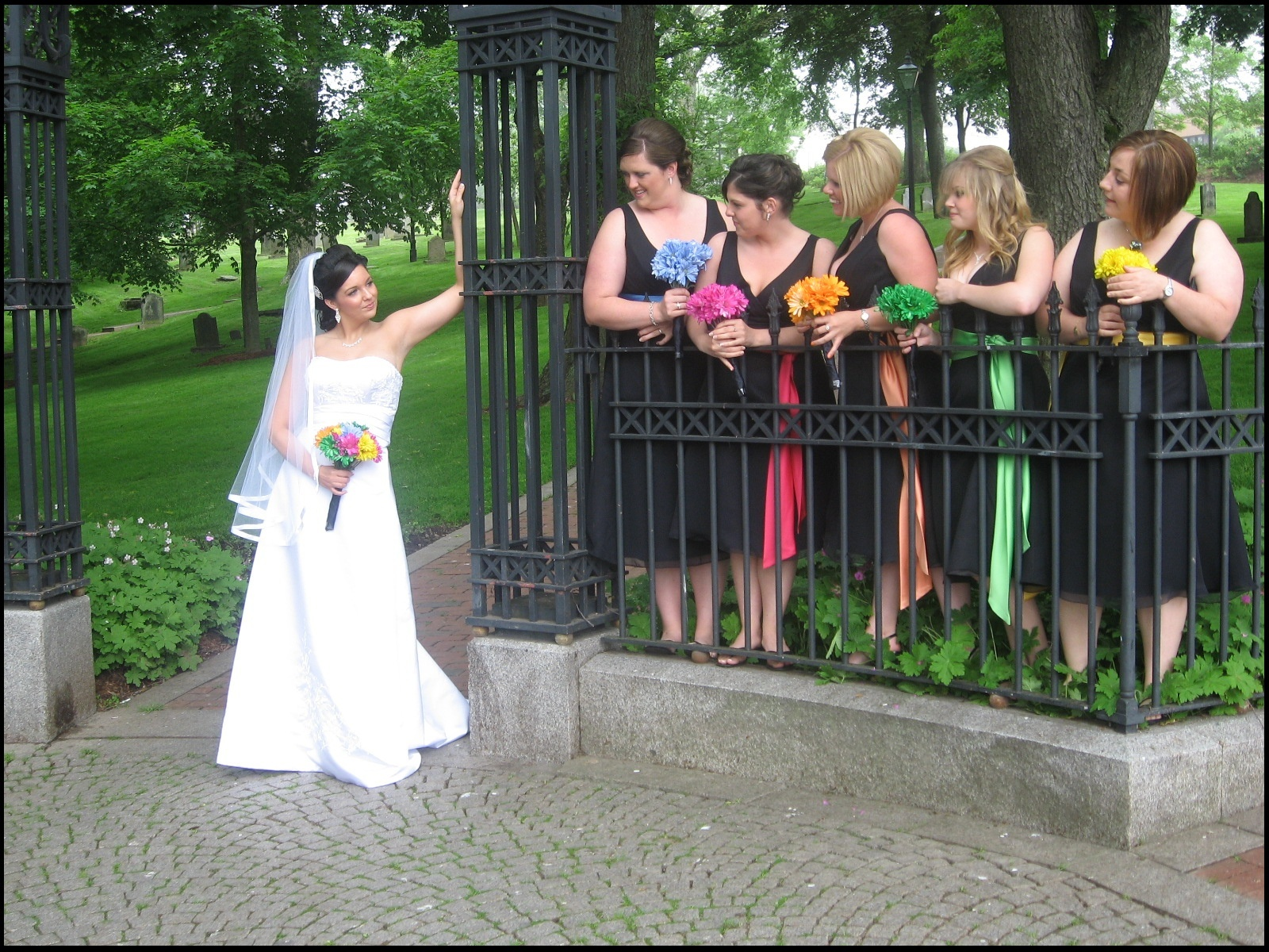 Flowers & Decor, Bridesmaids, Bridesmaids Dresses, Wedding Dresses, Fashion, yellow, orange, pink, blue, green, black, dress, Bridesmaid Bouquets, Flowers, Flower Wedding Dresses
