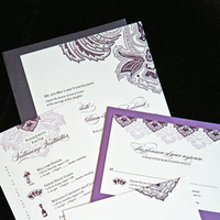 Stationery, white, purple, invitation, Invitations, Wedding, Paisley, Script, Aubergine