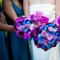 Ceremony, Flowers & Decor, Bridesmaids, Bridesmaids Dresses, Fashion, purple, blue, Ceremony Flowers, Bridesmaid Bouquets, Flowers, Trinity blooms floral design, Flower Wedding Dresses